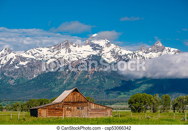 Old barn in Grand Teton Mountains - csp53066342