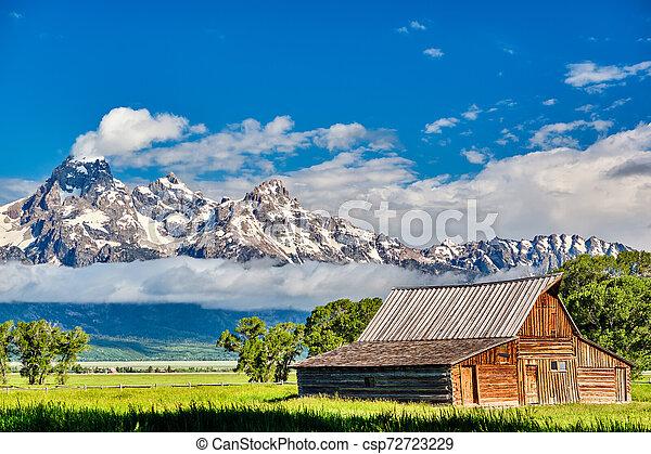 Old barn in Grand Teton Mountains - csp72723229