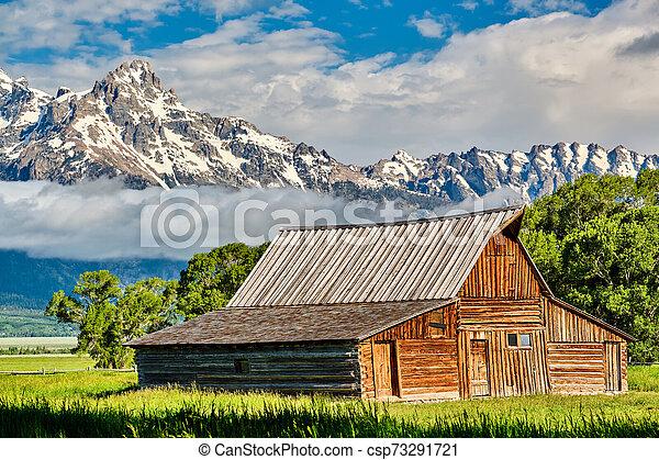 Old barn in Grand Teton Mountains - csp73291721