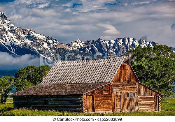 Old barn in Grand Teton Mountains - csp52883899