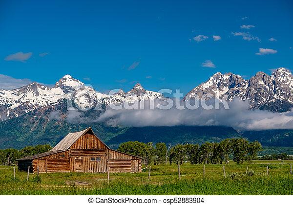 Old barn in Grand Teton Mountains - csp52883904