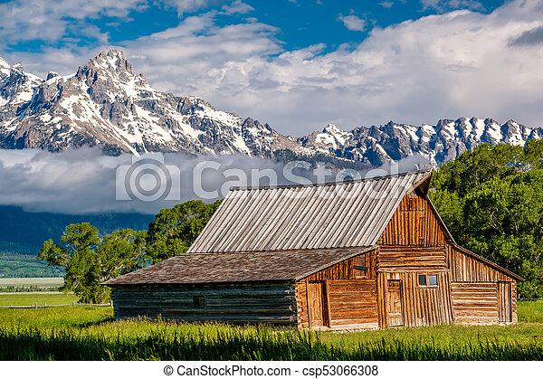 Old barn in Grand Teton Mountains - csp53066308