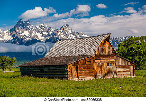 Old barn in Grand Teton Mountains - csp53066338