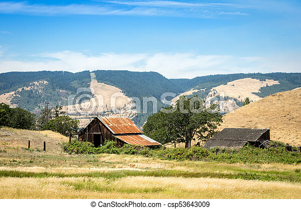 Old Barn in Meadow - csp53643009