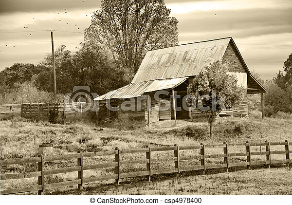 old barn sepia tint old barn in pasture with sepia tint