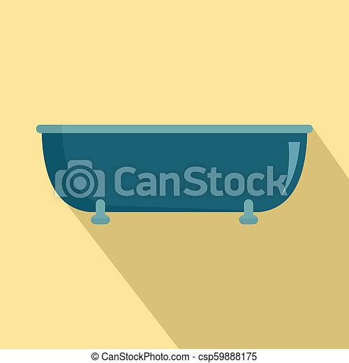 Old bathtube icon, flat style - csp59888175