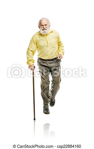 Old bearded man walking with cane - csp22884160