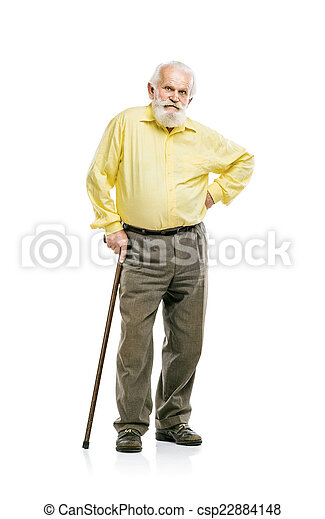 Old bearded man walking with cane - csp22884148