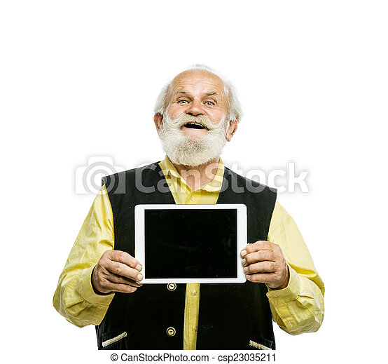 Old bearded man with tablet isolated - csp23035211