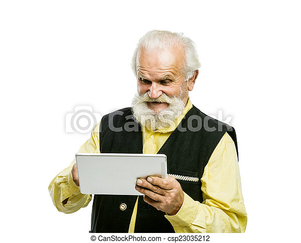 Old bearded man with tablet isolated - csp23035212