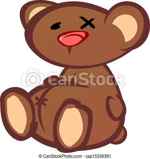 Old Beat Up Teddy Bear Cartoon Char - csp15336381