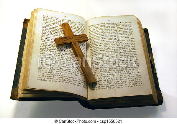 Old bible and cross - csp1550521