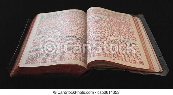 old Bible with red text - csp0614353