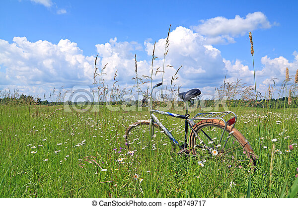 old bicycle amongst green herb - csp8749717