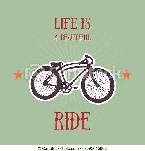Old bicycle emblem - csp93615868