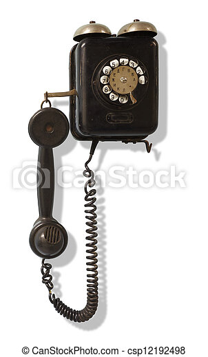 Old black wall-mounted telephone - csp12192498