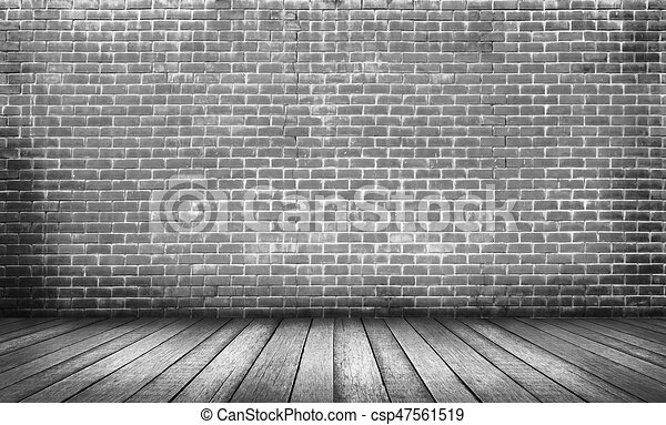 Old Black Wood Floor With Brick Wall Background Wood Floor With Red