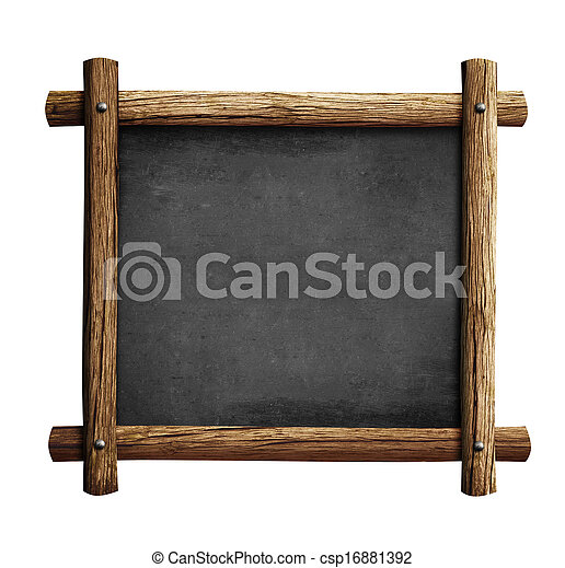 Old blackboard or chalkboard with wooden frame isolated.