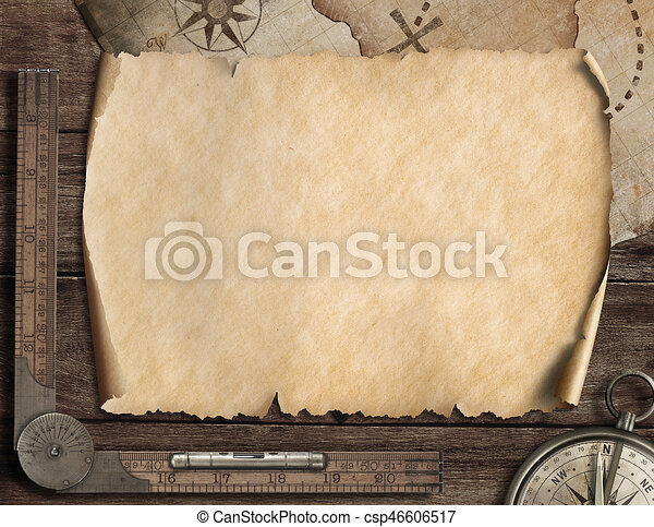 Old Blank Map Background And Compass Adventure Concept 3d Illustration