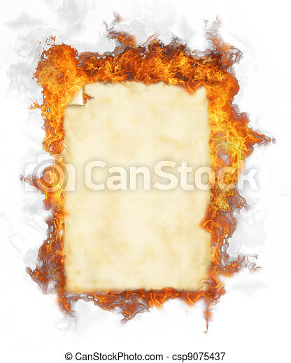 Old blank paper in fire, isolated on white background - csp9075437