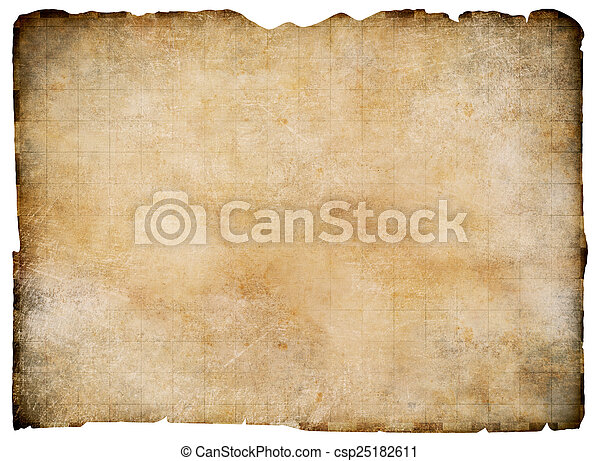 Old Blank Parchment Treasure Map Isolated Clipping Path Is Included