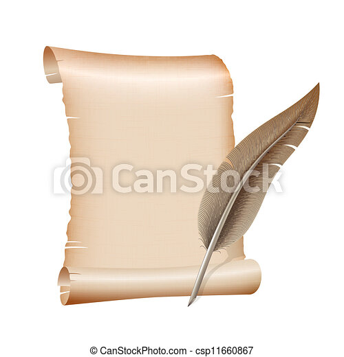 old blank scroll paper on white background - csp11660867