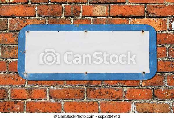 Old blank sign on a red brick wall. - csp2284913