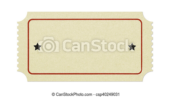 old blank ticket isolated on white