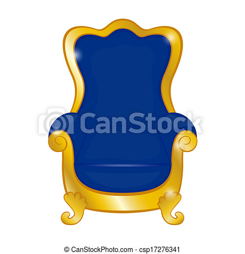 Old Blue Antique Armchair On A White Background Eps Vector