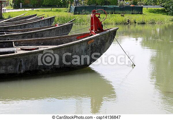 old boat on lake - csp14136847