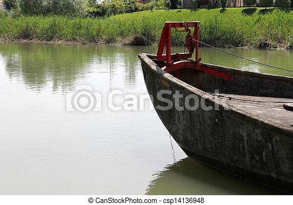 old boat on lake - csp14136948