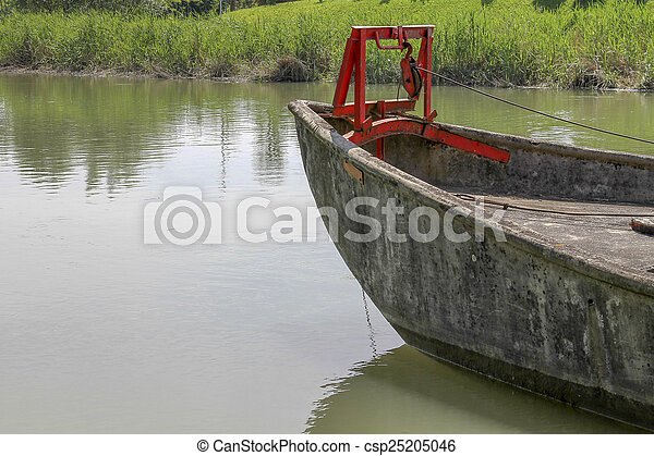 old boat on lake - csp25205046