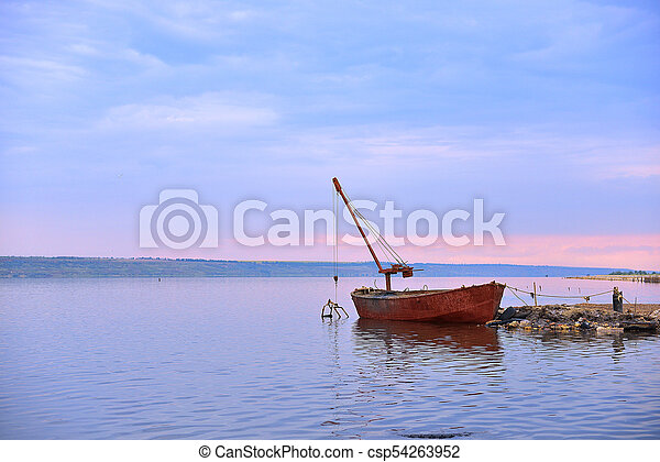 Old Boat On River - csp54263952