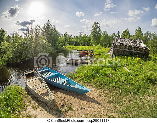 old boat on the river - csp29011117
