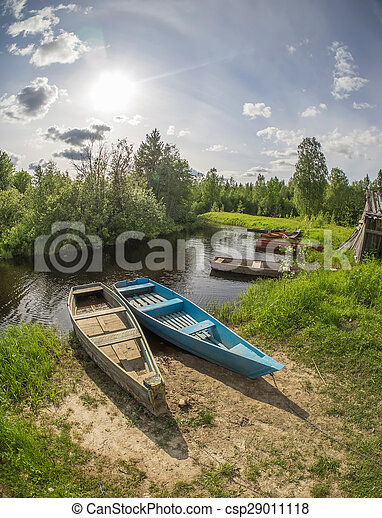 old boat on the river - csp29011118