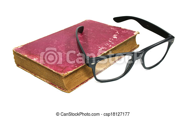 Old book and glasses on a white background - csp18127177