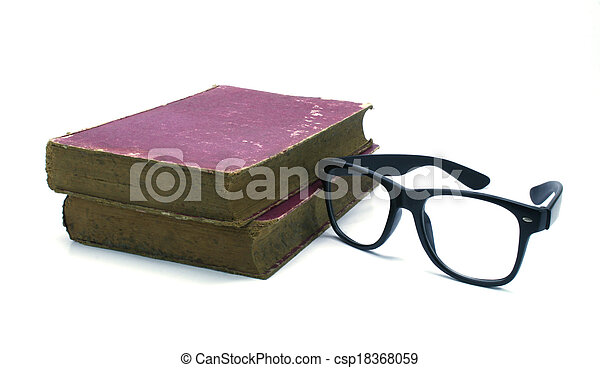 Old book and glasses on a white background - csp18368059