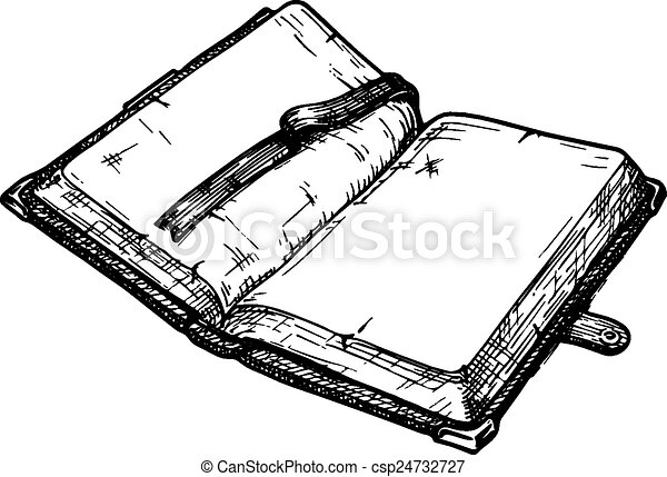 Old Book Hand Drawn Vector Illustration Of Opened