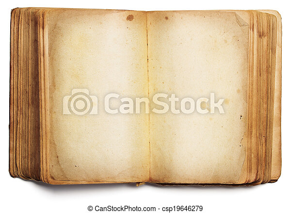 Old Book Open Blank Pages Empty Yellow Paper Isolated On White Background