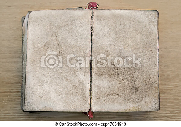 Old book, opened to blank pages. - csp47654943