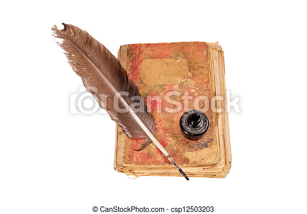 Old book, quill and black ink - csp12503203