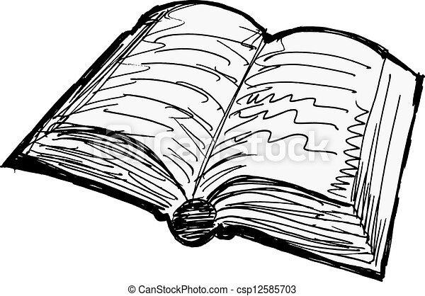 Opened Old Book On White Background