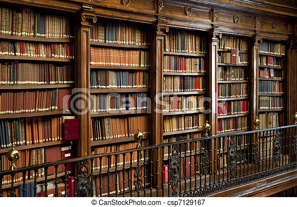 old books in library - csp7129167