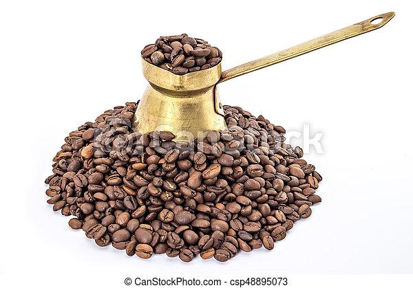 Old brass coffee pot - csp48895073