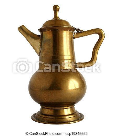 Old brass coffee pot - csp19345552