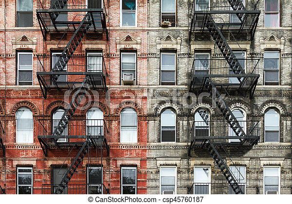 Old Brick Apartment Buildings In New York City   Csp45760187