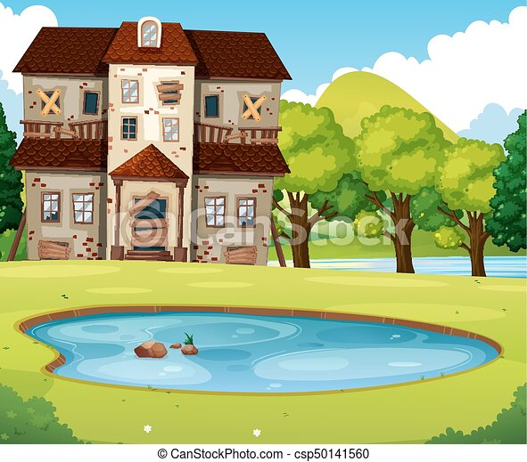 Old brick house with lawn and pond illustration.
