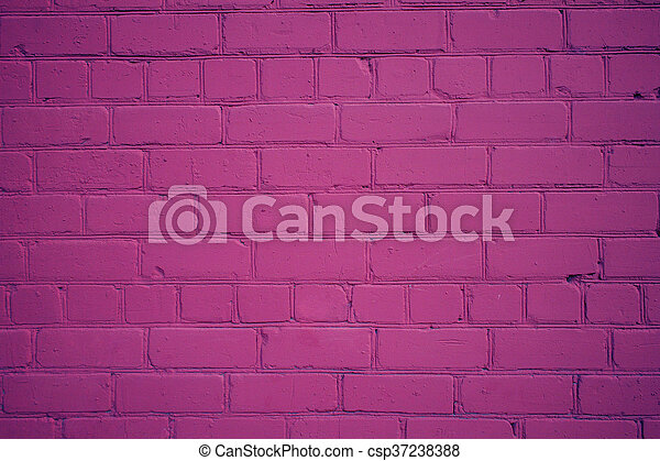 Old Brick Wall Freshly Painted in Purple Color - csp37238388