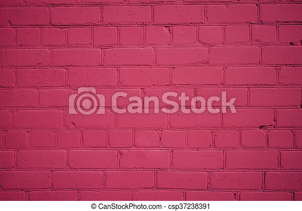 Old Brick Wall Freshly Painted in Magenta Color - csp37238391