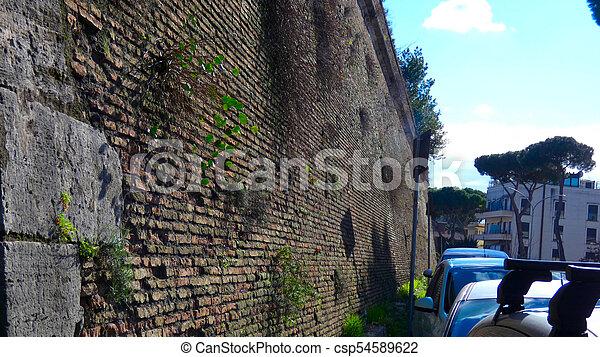 Old brick wall of terrazza del gianicolo stock photo - Search ...